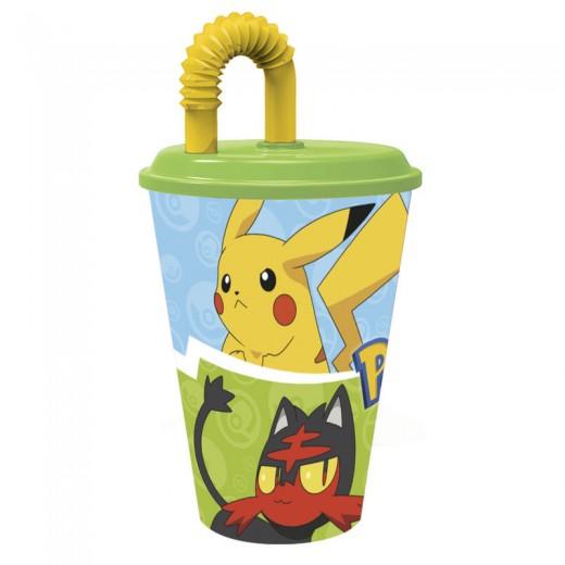 Vaso con caña de Pokemon ideal picnic para llevar al colegio con tapa grande