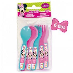 Set de cubiertos de Minnie Mouse Disney para picnic 6 piezas rosa y azul