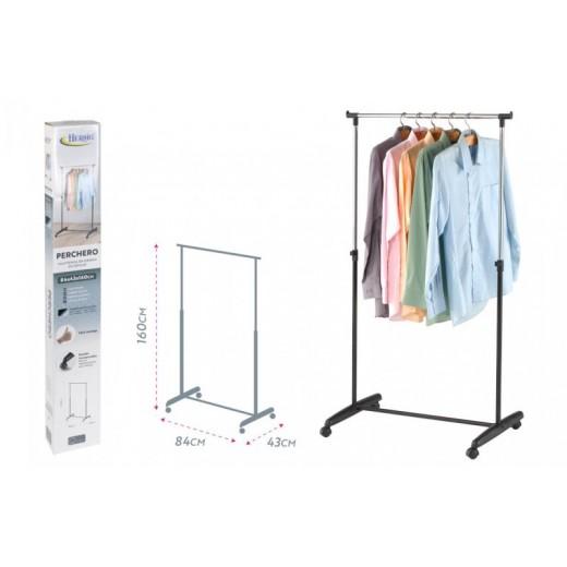 Perchero de ropa extensible con ruedas color metal y negro Fácil montaje 160 cm
