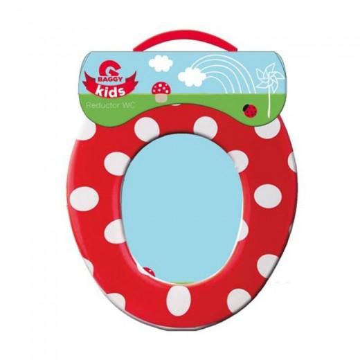 Reductor de taza de wc para niños adaptador water setas rojo y blanco