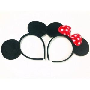 Pareja de Diademas con orejas de Minnie con lazo rojo y Mickey Mouse 2 diadema