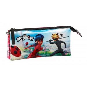 Estuche con 3 cremalleras para colegio de ladybug Portatodo y cat noir triple