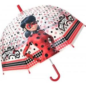 Paraguas de LadyBug Prodigiosa de dibujos animados Miraculous transparente 46 cm