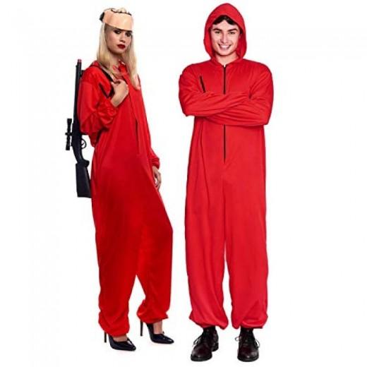 Disfraz de atracador ladrón mono rojo en varias tallas atracador Adulto