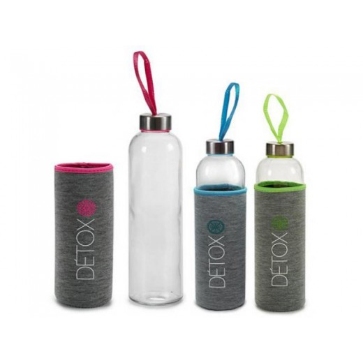 Botella de Cristal con protector de neopreno silicona para oficina gimnasio