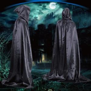 Capa con capucha negra tipo túnica vampiro para disfraz color negro monje