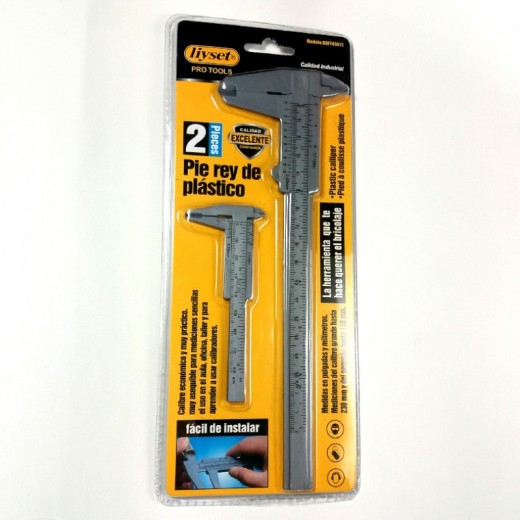 Pie de rey de plástico calibre profesional 2 calibres piezas hasta 230mm