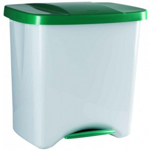 Cubo de basura para reciclaje con pedal con separador triple 50 litros grande