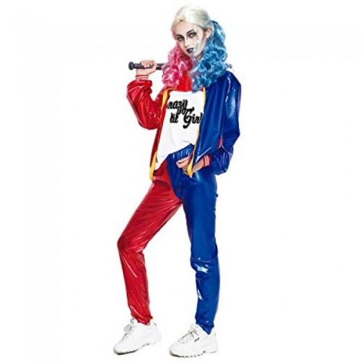 Disfraz de Harley Quinn Joker's Baby Adulto Mujer Carnaval traje pantalón largo