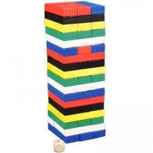 Juego torre de bloques de madera palos de colores pequeño 48 piezas