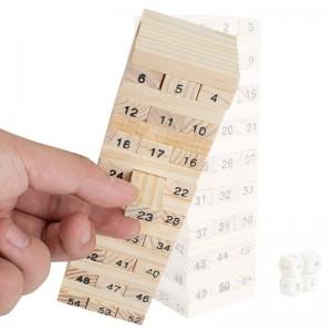 Juego torre de bloques de madera palos con numeros de 54 piezas