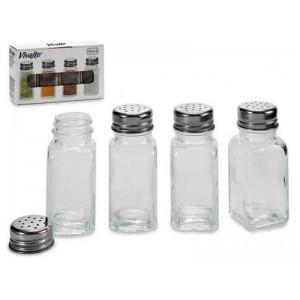 4 botes de cristal para especias especieros frascos con agujeros