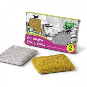 Estropajos oro y plata no rallan suaves de fibra acrílica para fregar