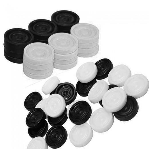 fichas damas blancas y negras 24 fichas para juego de damas en caja