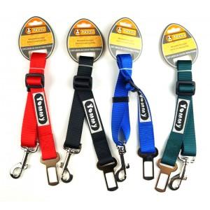 Cinturón de coche para perro ajustable en varios colores con enganche mosquetón