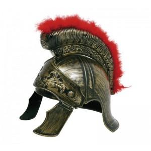 Casco de Romano gorro soldado Romano dorado con cresta Disfraz imperio romano