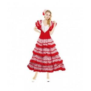 Disfraz de Sevillana Adulto traje Andaluza para Ferias blanco y rojo mujer