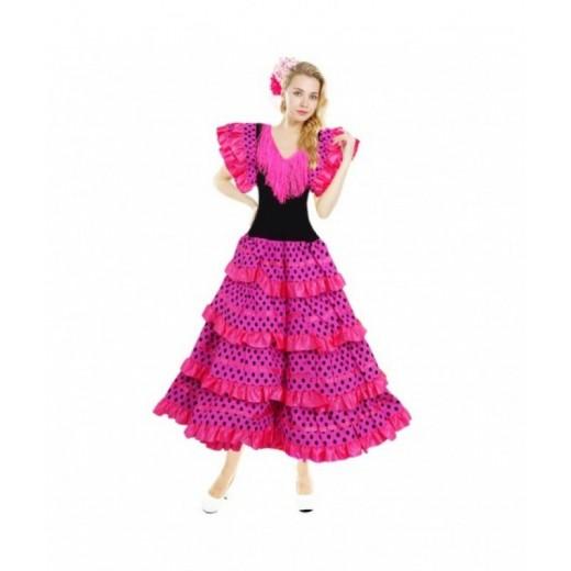 Disfraz de Sevillana Adulto traje de Andaluza para Carnaval Ferias Rosa mujer