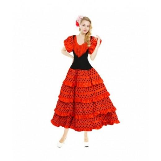 Disfraz de Sevillana Adulto traje de Andaluza para Carnaval Ferias Rojo mujer