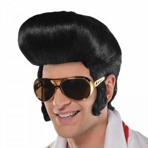 Peluca de Disfraz Elvis Estrella del rock pelo con copete negro años 50 carnaval