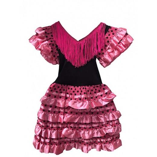 Disfraz de Sevillana vestido flamenca rosa y negro lunares para niña 6-10 años