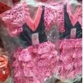 Disfraz de Sevillana vestido flamenca rosa y negro lunares para niña 1-5 años