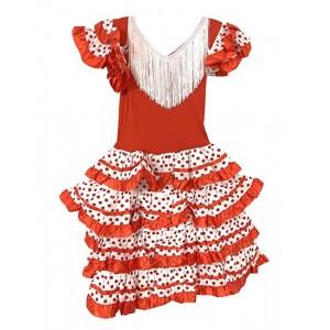 Disfraz de Sevillana vestido flamenca rojo y blanco lunares para niña 6-10 años