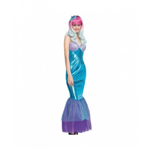 Disfraz de Sirena para Mujer traje Sirenita Carnaval mujer cola de sirena azul