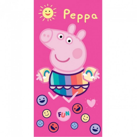 Toalla de Peppa Pig para playa o piscina para niña color rosa pepa con manguitos