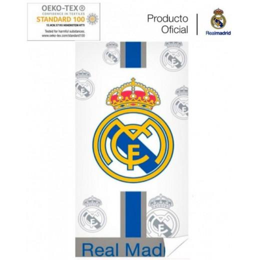 Real Madrid Toalla del Real Madrid blanca con escudos para playa piscina baño