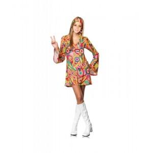 Disfraz de Hippie para Mujer traje con flores hippi ropa años 60 70 80 Nuevo