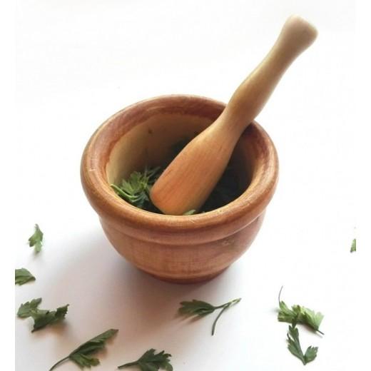 Mortero de madera mediano para picar ajo de cocina con maza mazo 9 cms