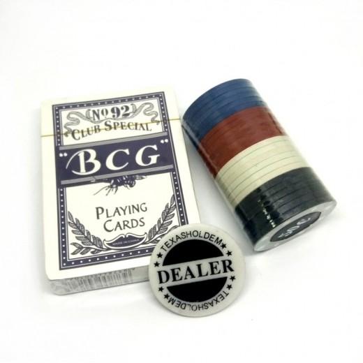 Juego de cartas de Poker con fichas 24 de colores y dealer Baraja de poker chips