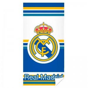 Toalla del Real Madrid microfibra modelo escudo grande y rallas para playa