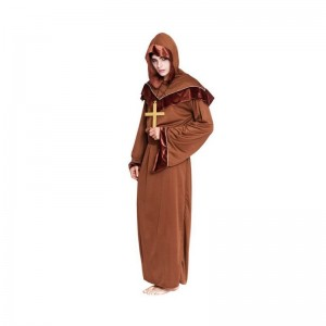 Disfraz de Monje de mujer traje sacerdote carnaval túnica marrón con capucha