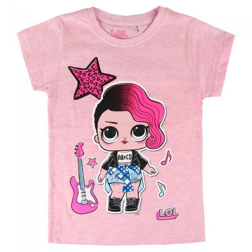Camiseta Rock Star LOL Surprise manga corta niñas muñeca sorpresa L.O.L. Rosa