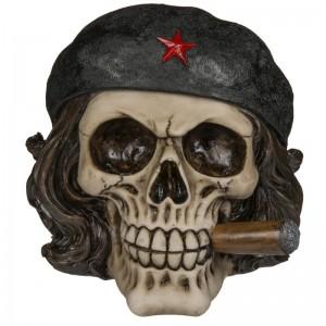 Hucha de Calavera Libertador con Puro craneo resina 16x14cms esqueleto