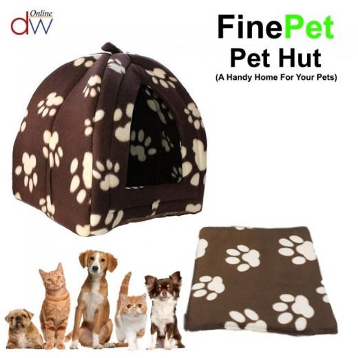Casa para perro y gato pequeña Pet Hut marron con huellas cama iglu