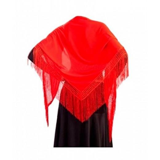 Manton rojo de sevillana matón para traje andaluza con flecos baile flamenca M
