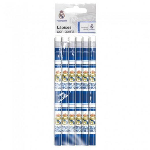 6 Lapices del Real Madrid con goma de borrar oficiales del Madrid