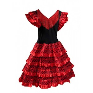 Disfraz de Sevillana vestido flamenca rojo con lunares negros para niña 6-10 año