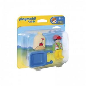 Muñeco de playmobil Trabajador carretilla Playmobil 1.2.3 juguete en blister
