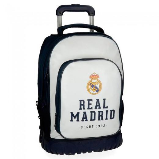 Maleta de mano del Real Madrid trolley para viaje avion y mochila con carro
