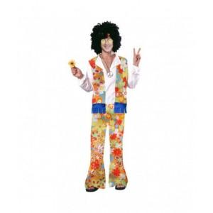 Disfraz de Hippie para Hombre traje con flores hippi ropa años 60 70 80 Nuevo