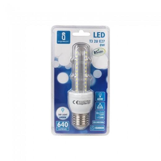 Bombilla LED T3 2U de 8 watios casquillo gordo (E27) 640 lumen y luz 6400K