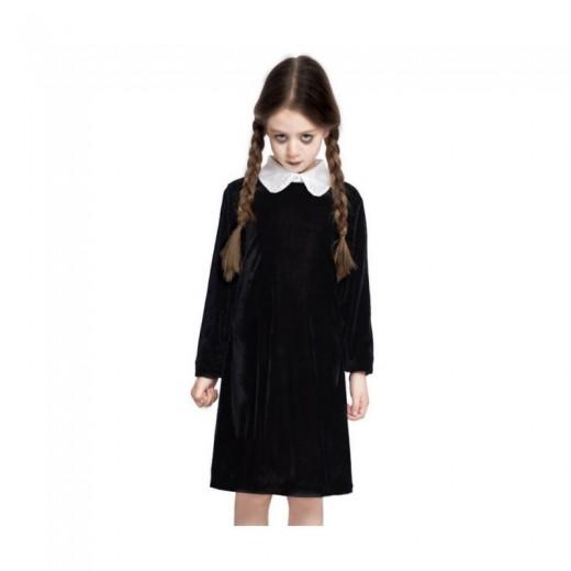Disfraz Strange girl chica rara vestido negro niña con trenzas halloween niña