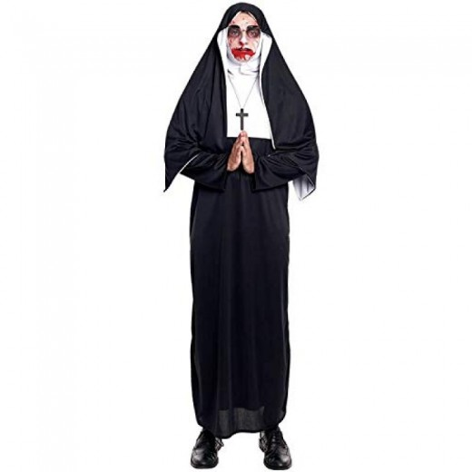 Disfraz de Monja con túnica cofia y cruz monja Maldita o normal traje sotana