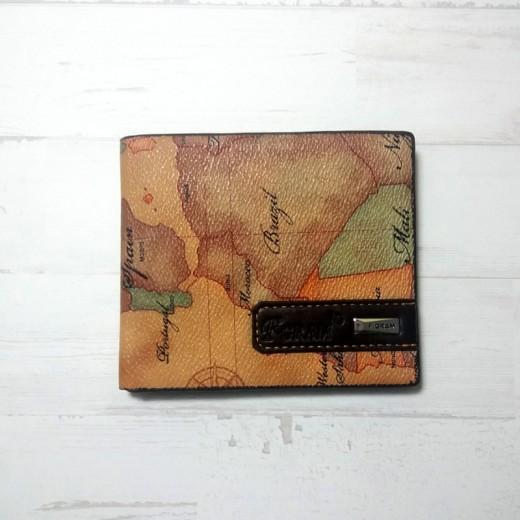 Billetero cartera mapa mundi polipiel marron y negra para monedas y billetes