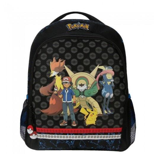 Mochila de Pokemon Mediana evolution pikachu y pokemons negra 35 cm