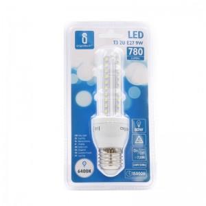 Bombilla LED T3 2U de 9 watios casquillo gordo (E27) 780 lumen y luz 6400K